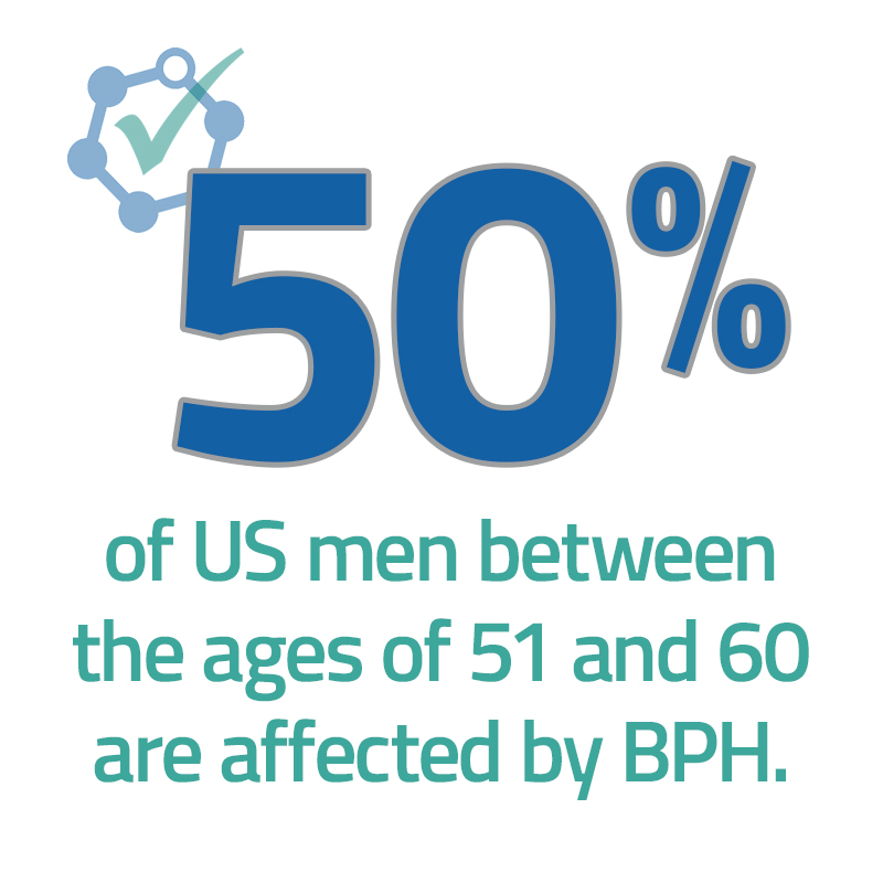 50% of men 51 to 60 have BPH