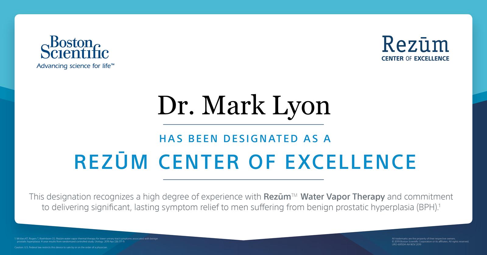 Rezum Center of Excellence - Dr. Mark Lyon